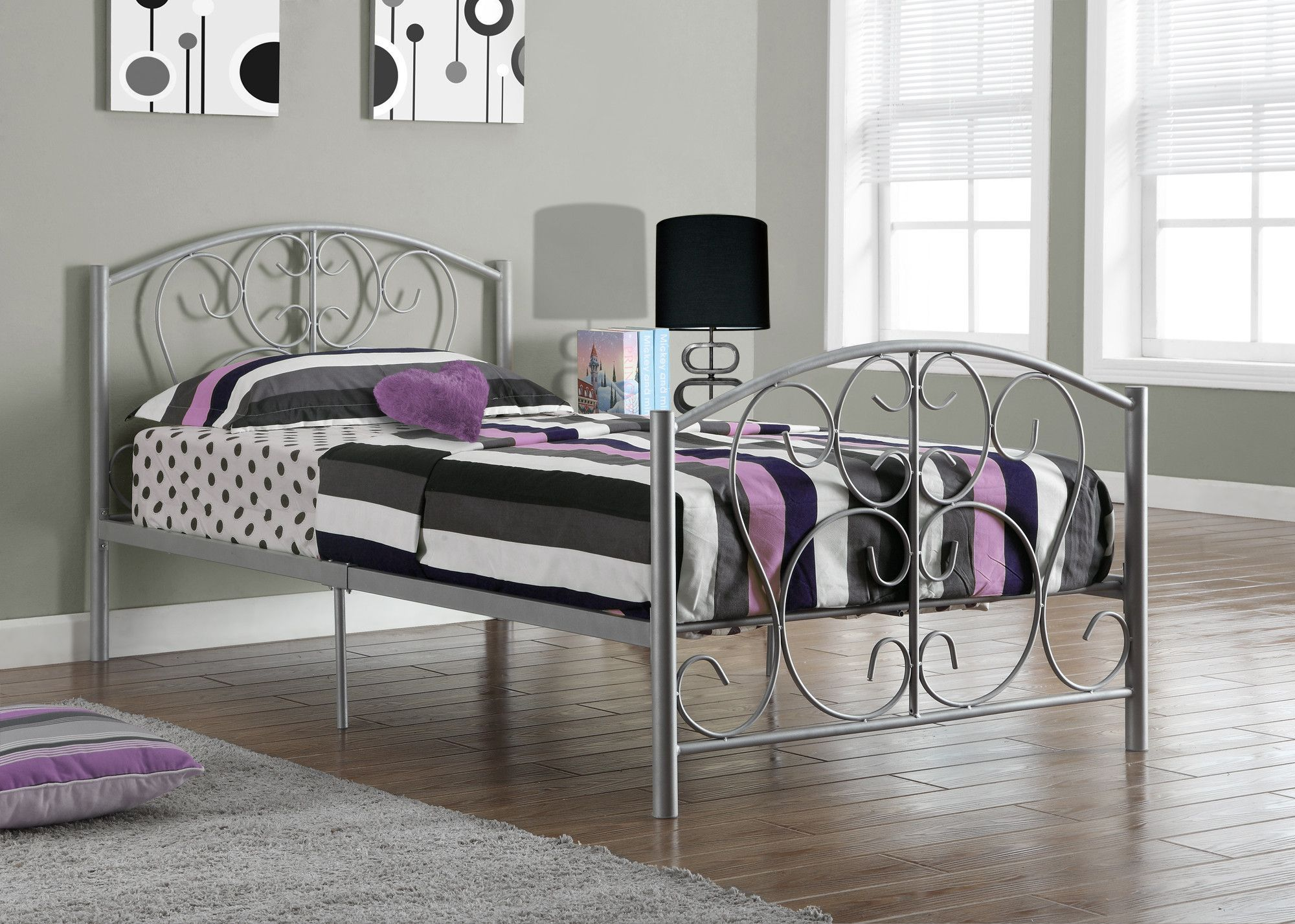 Silver Metal Twin Size Bed Frame ly
