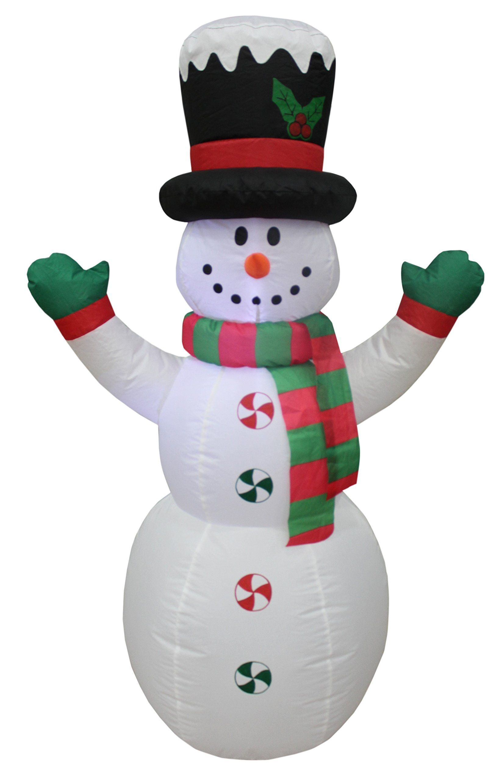 4 Foot Tall Lighted Christmas Inflatable Snowman with Hat LED Yard