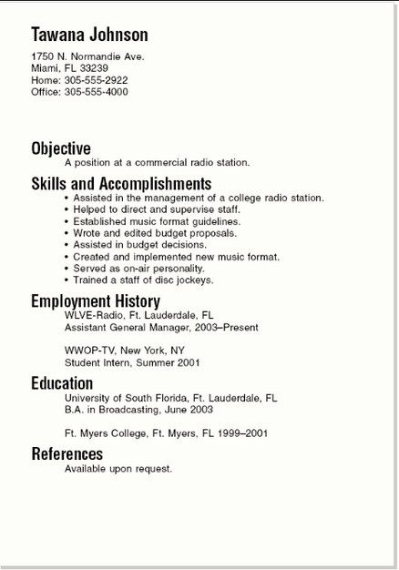 Basic Resume Examples For Students  Template