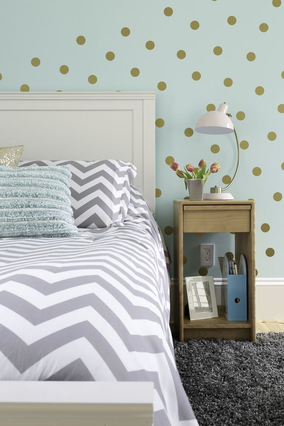 Elegant Girlu0027s Bedroom In Aqua, Gray, White And Gold Color Palette With Feature  Wall Painted In Sherwin Williams Tame Teal.