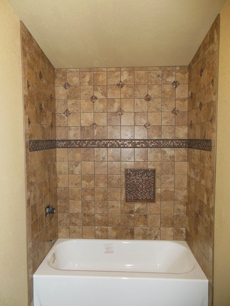 Tub Surround With Single Built In Shower Shelf. Marazzi Montagna Belluno  Tile And Bling Tile All From Job Done By Jim Leister In Riverton, WY.