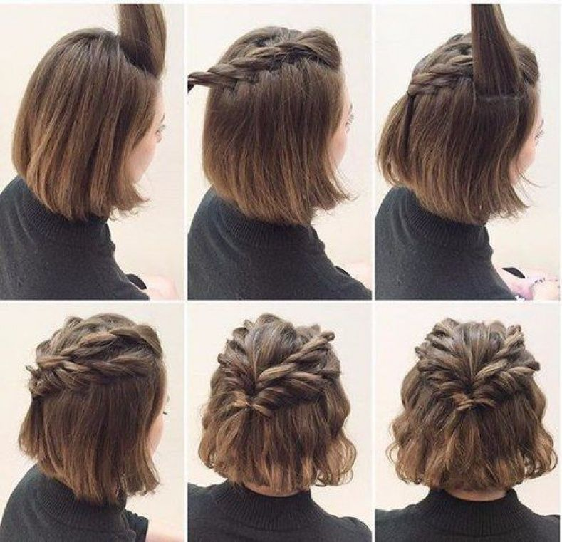 Easy Hairstyles Short Hair Crownbraidshorthair Crown Braid Short