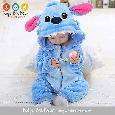 0ccdb6705 Cute Lilo & Stitch Warm Winter Fleece Baby Boy Girl Bodysuit ...