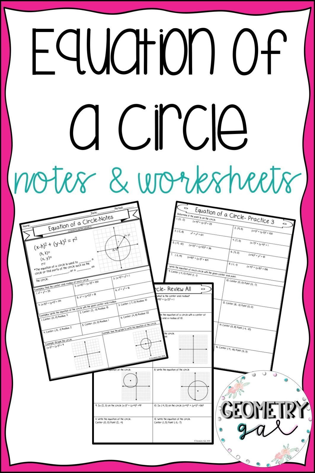 Equation Of A Circle Guided Notes And Worksheets
