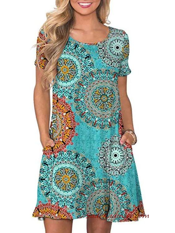 2020 Yazlik Elbise Modelleri Turkuaz Mavi Mini Kisa Kollu Cepli Desenli Elbise Modelleri Elbise Kiyafet Takimlari