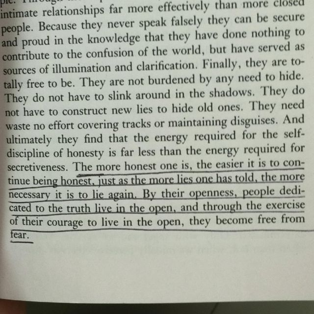 "from ""The Road Less Traveled"" by M. Scott Peck on honesty ..."