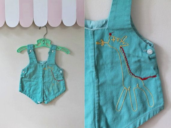 vintage 1950s baby romper  HUNGRY GIRAFFE teal cotton
