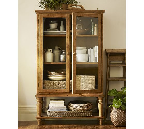 Sumner Glass Cabinet Pottery Barn For my new home Pinterest