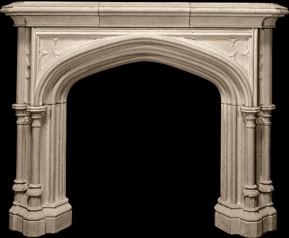 Sunbury mantel from tartaruga design inc cast stone for Tudor style fireplace
