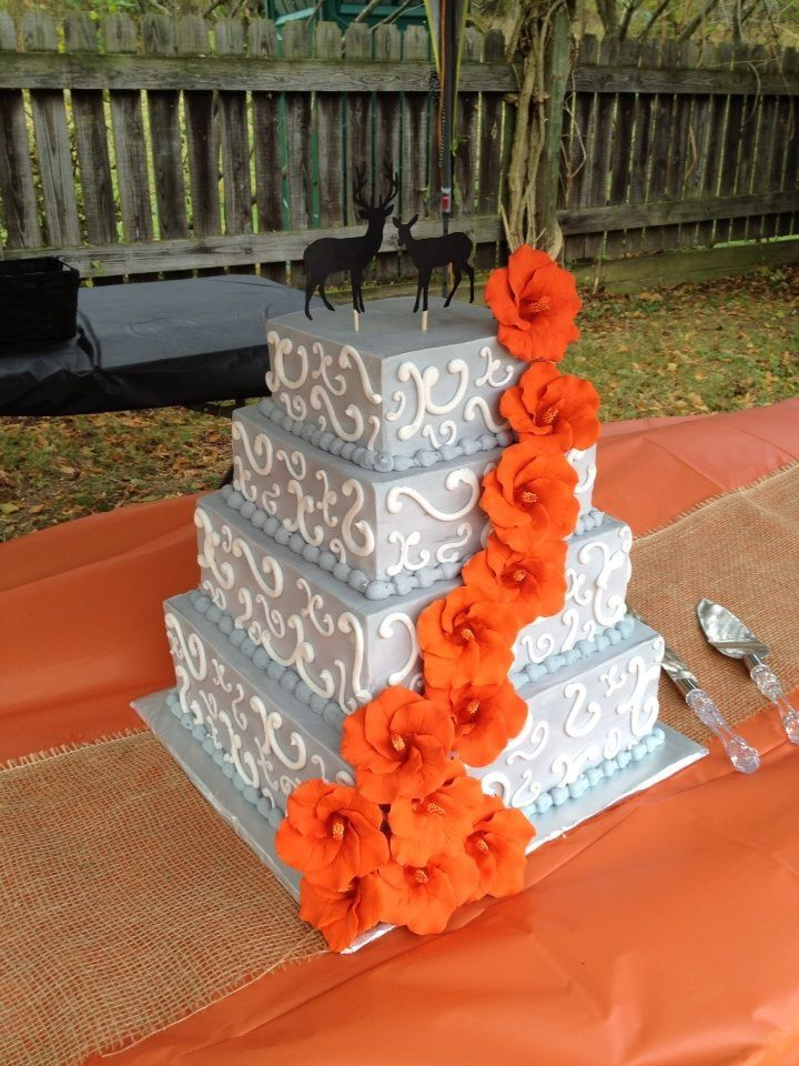 navy blue and orange wedding cakes gray and orange wedding cake could easily be done with 17756