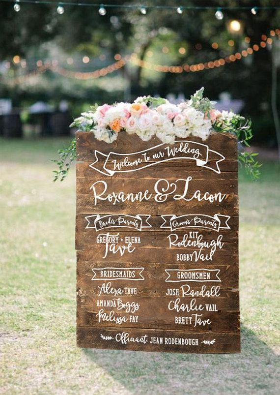 wedding program sign reclaimed wood by pixelsandwood on etsy
