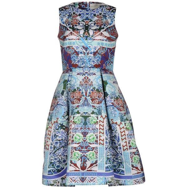 Mary Katrantzou Knee-length Dress (114.110 RUB) via Polyvore featuring dresses, blue, blue sleeveless dress, flared dresses, no sleeve dress, sleeveless flare dress и flare dress