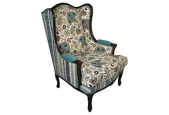 Upholstered Vintage Wingback Chair Blue Green Aqua Flower Floral Fabric  Modern Shabby Chic