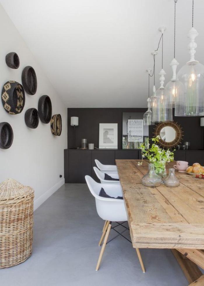 table salle manger grande table en bois rustique et chaises scandinaves