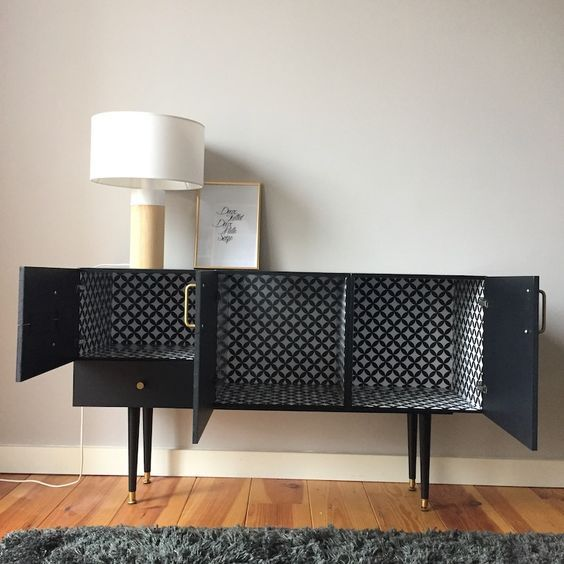 Upcycled Sideboard Geometric