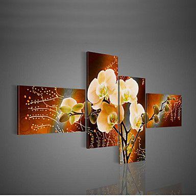 pintura decorativa moderna pintados à mão a óleo sobre tela de parede retrato da arte da flor para 4pcs sala de estar / set sem moldura – EUR € 26.59