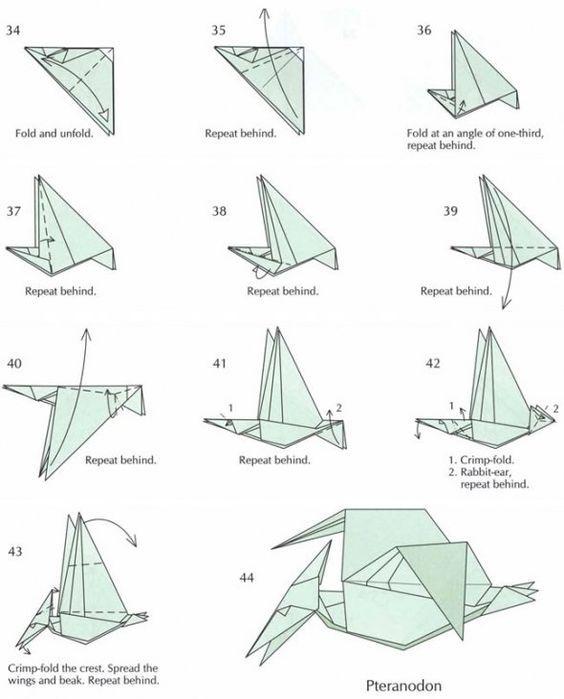 tutorial origami dinosaur