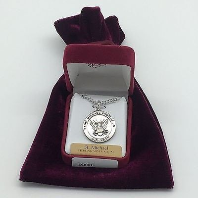 Silver:US Navy & Saint Michael Medal with Chain