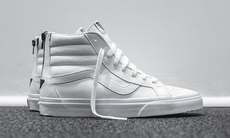 1d7d46ba7a07c4 Vans has just released a clean white leather take on its Sk8-Hi Reissue Zip.