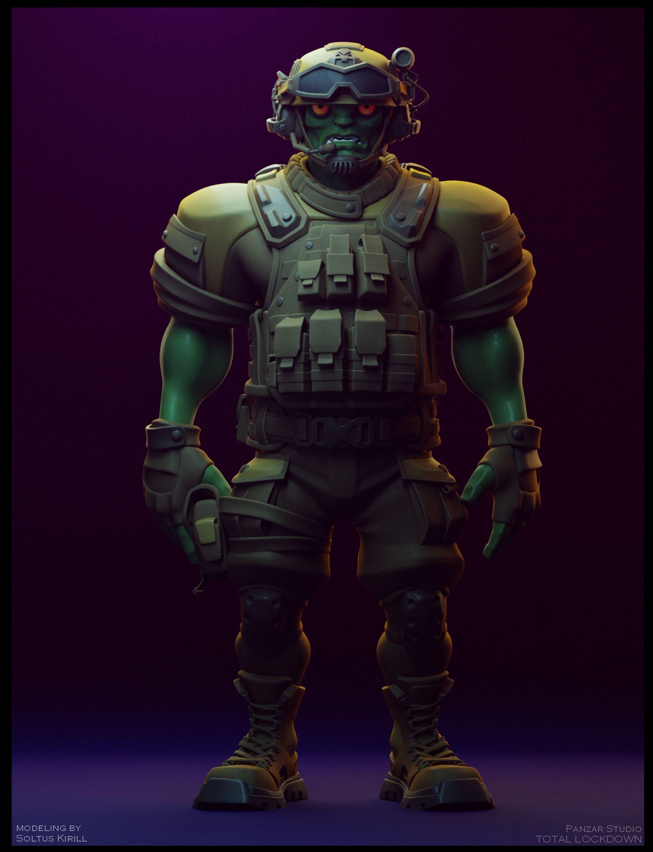 Artstation Green Monster Soldier Soltus Kirill In 2020 Green Monsters Soldier Monster