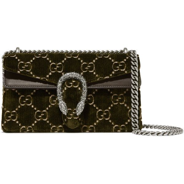 c2e1676bc64 Gucci Dionysus leather-trimmed embossed velvet shoulder bag ( 2