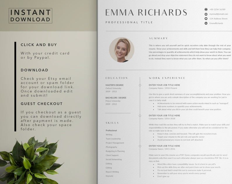 Cv Resume Template With Photo Paper Stationery Cv Template Etsy Cv Resume Template Resume Template Cv Template