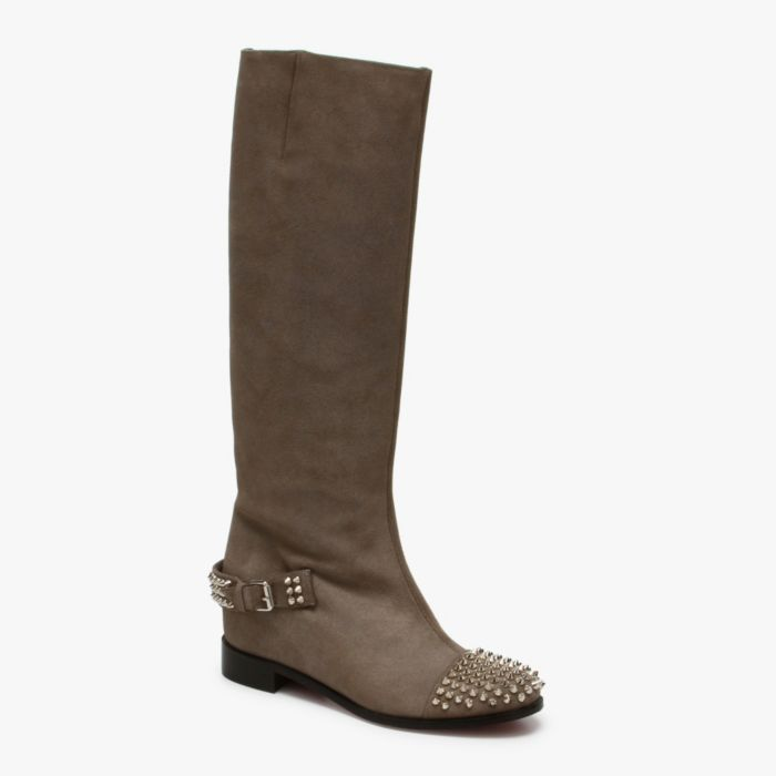 Christian Louboutin Egoutina Boot in Anthracite & Silver featured in http://www.euroshoesbox.com