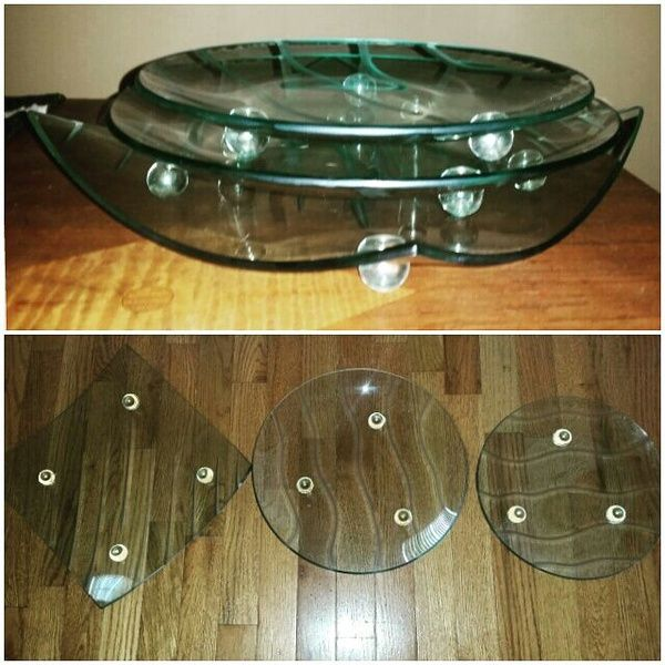 Three modern glass party/serving dishes.