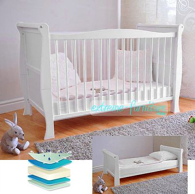 White Solid Wood Baby Cot Bed  Deluxe Foam Mattress Convert to