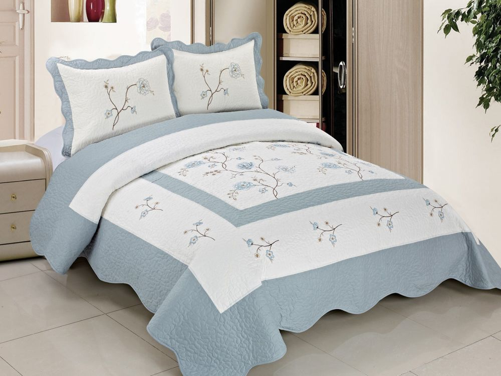 Bnf Home Classic Embroidered Cotton Bedspread Quilt Blanket Coverlet
