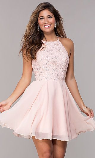Alyce High-Neck Short Open-Back Homecoming Dress