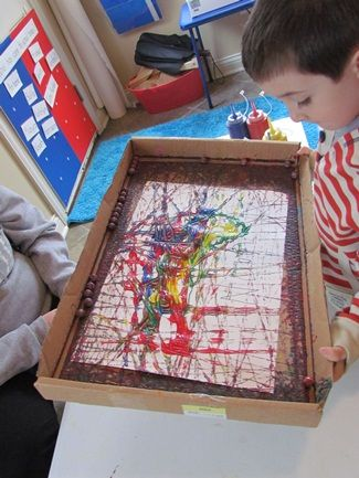 Marble Painting With Preschoolers Marble Painting Rainy
