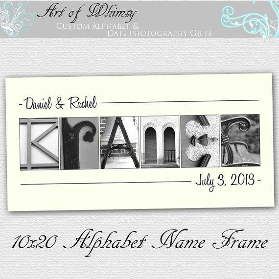 Alphabet Art Photos Personalized Name Frame Wedding Gift