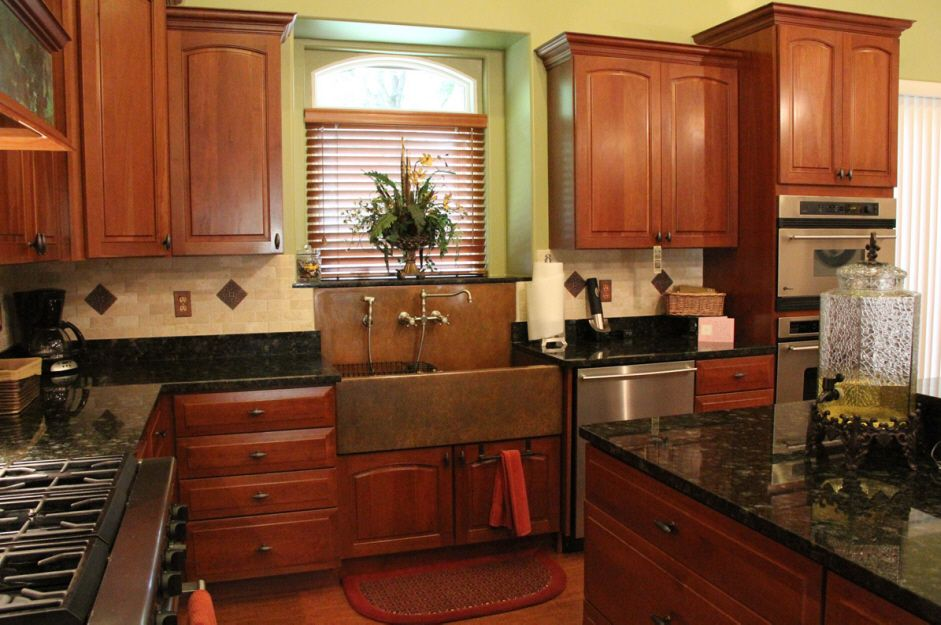Copper Sink Copper Accented Backsplash Dark Countertops