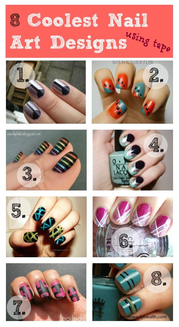 8 Coolest Nail Art Designs Using Tape | Scotch tape, Toenail art ...