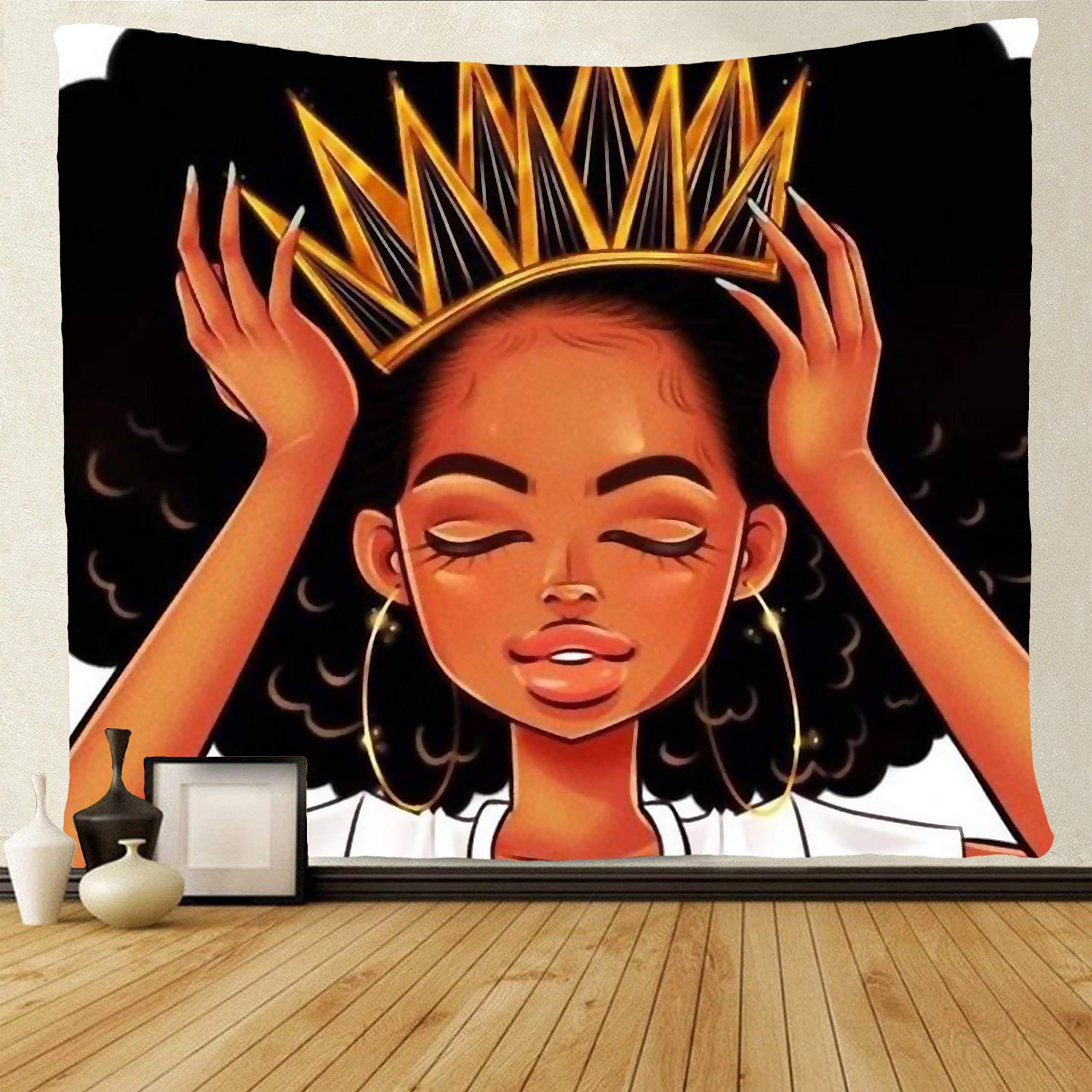 Colorful Afro African Black Girl Tapestry Wall Hanging Living Room Bedroom Decor