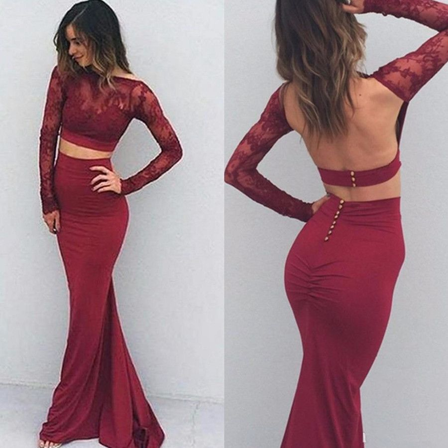Red long sleeves trumpetmermaid stretch satin two pieces prom