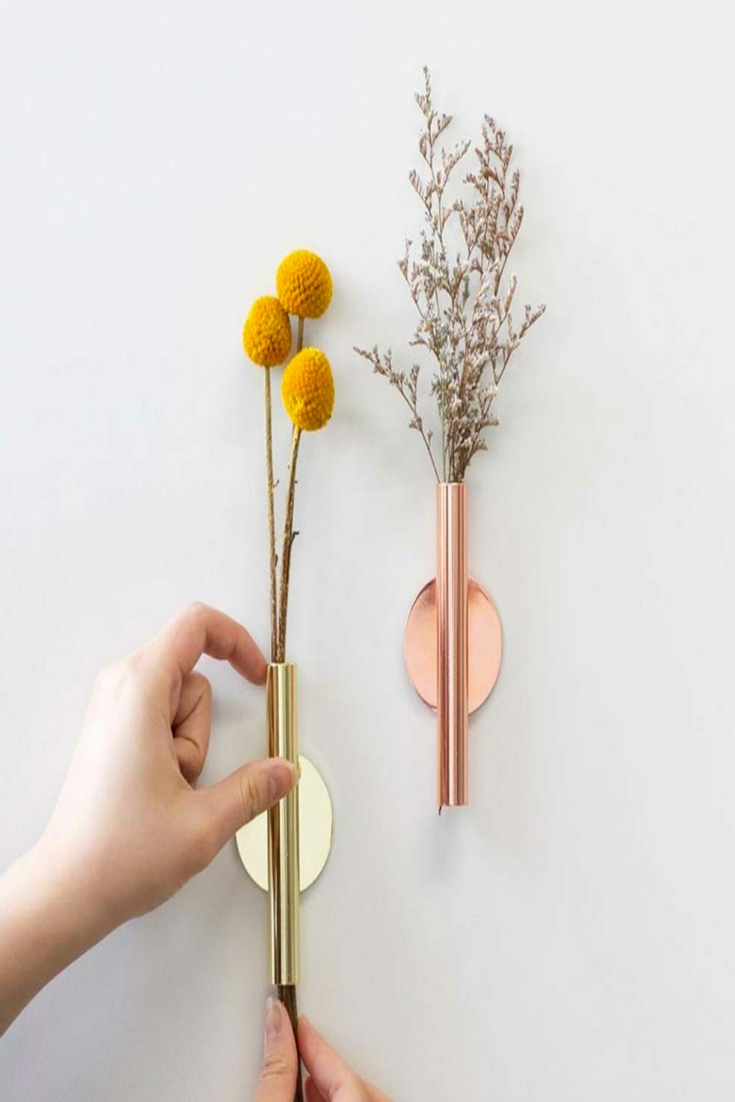 Wall Mounted Flower Tube For Flower Display Wall Metal Vase Decoration Holder In 2020 Wall Mounted Vase Wall Vase Flower Vases