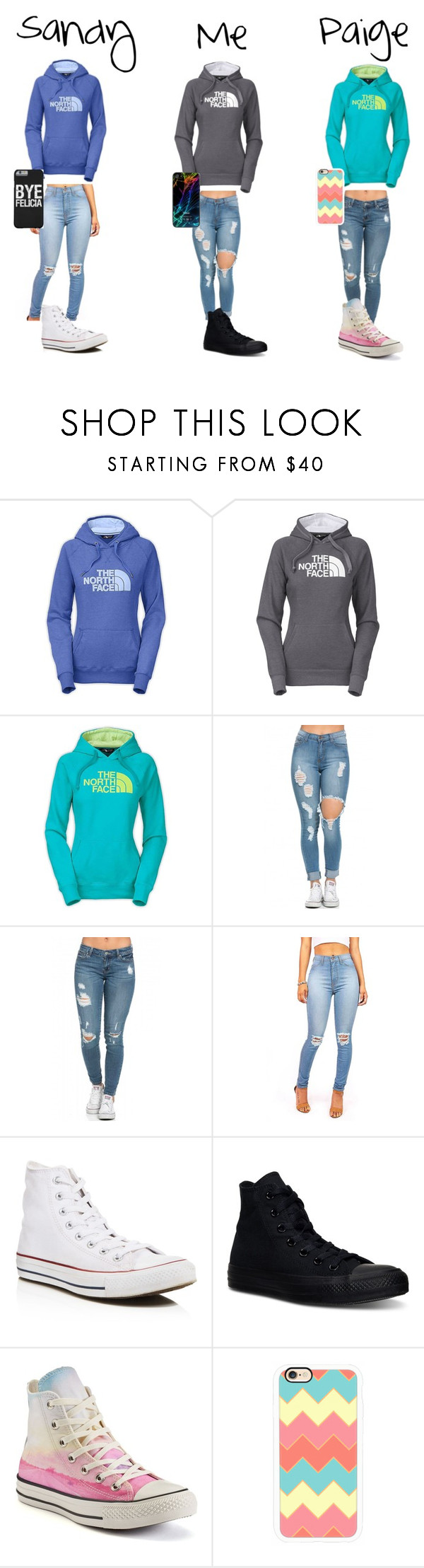 """""""Luv u girls❤️❤️"""" by karhoades-2 ❤ liked on Polyvore featuring The North Face, Converse and Casetify"""