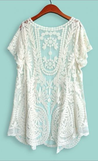 White Short Sleeve Crochet Net Lace Cardigan | Stitch fix ...