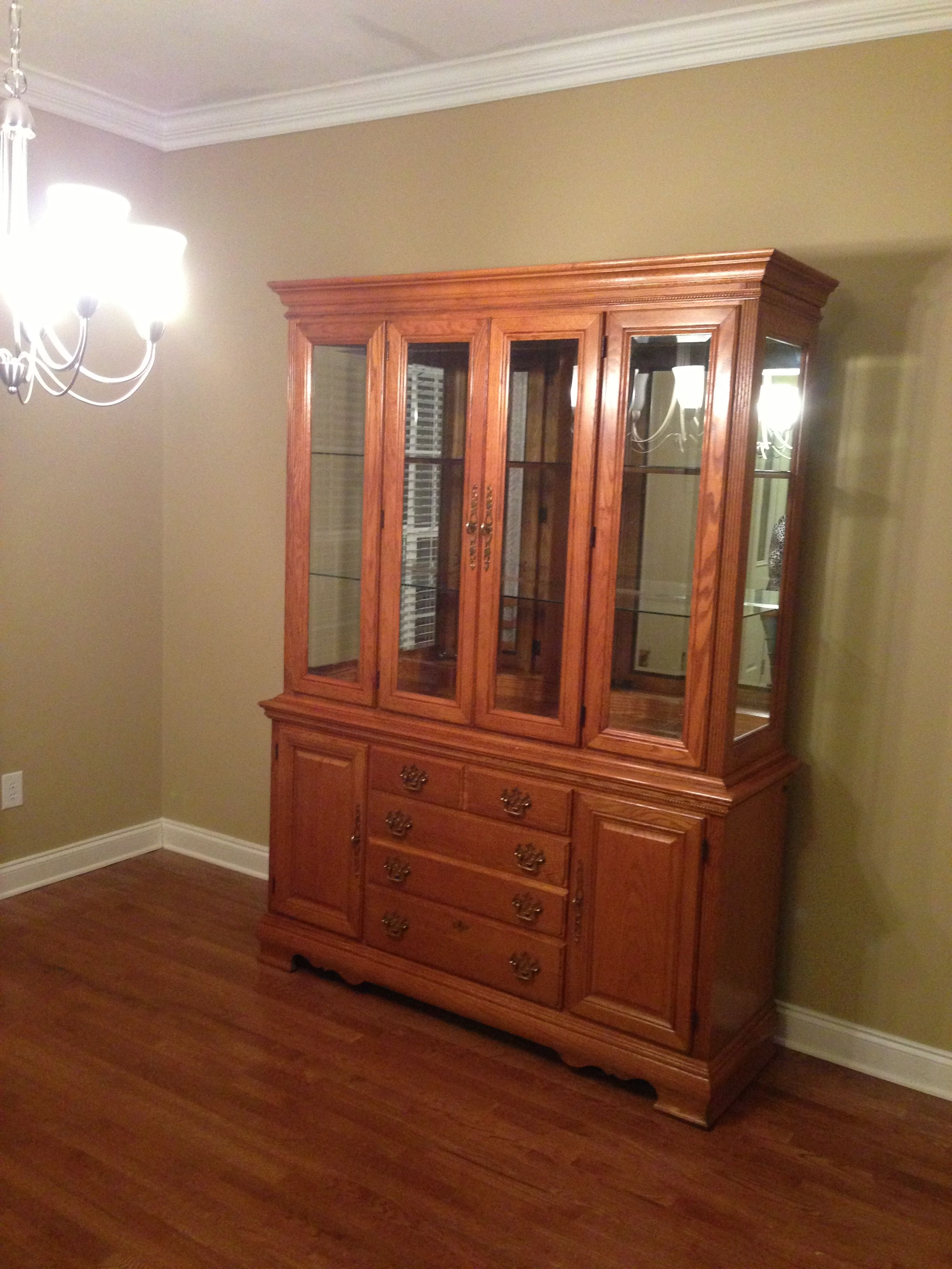 Solid oak American Drew china cabinet I found off of Craigslist ...