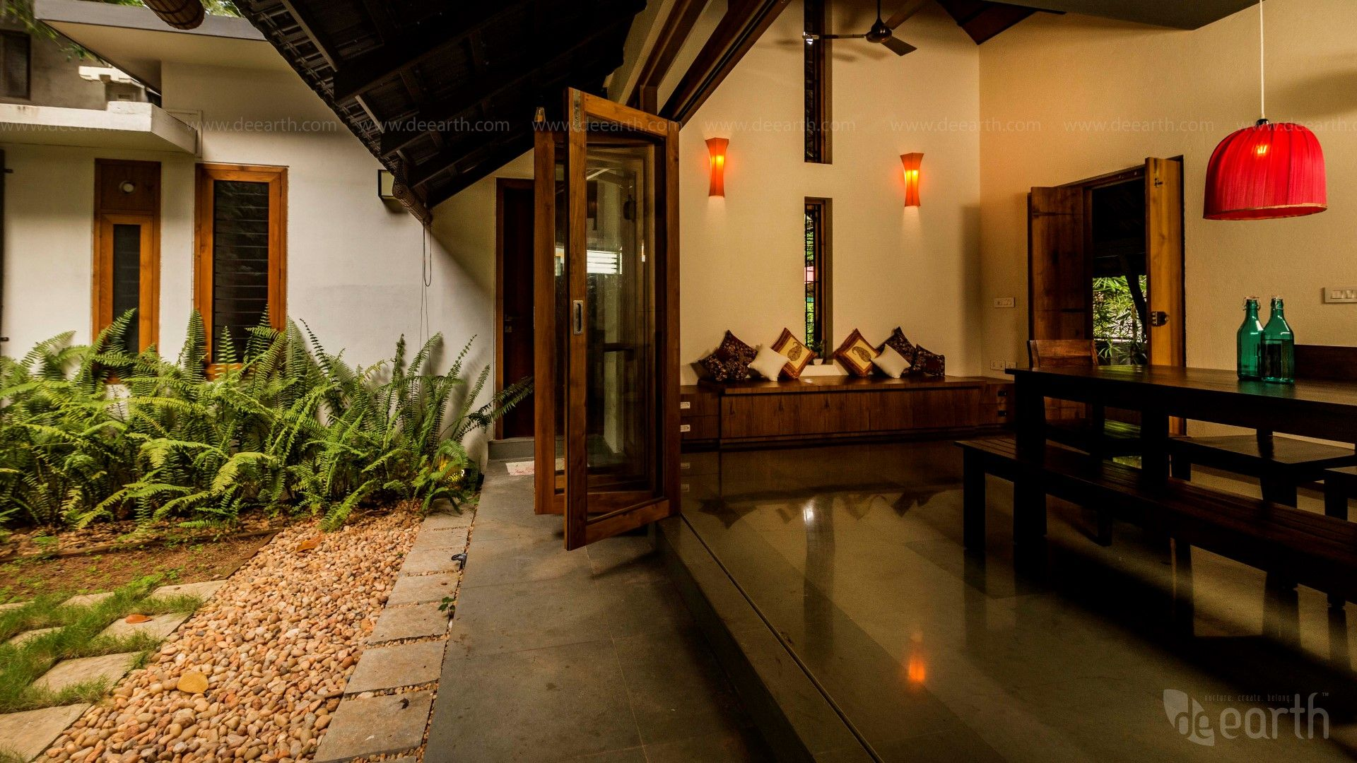 The Garden House Living room kerala style, Traditional