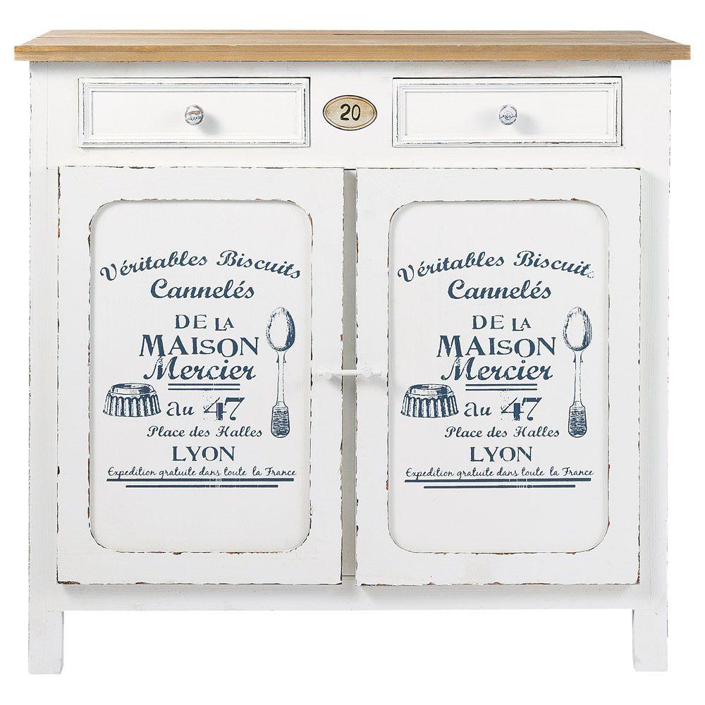 Maison Du Monde Credenze Bianche credenza bianca in legno l 90 cm pâtissier | maisons du