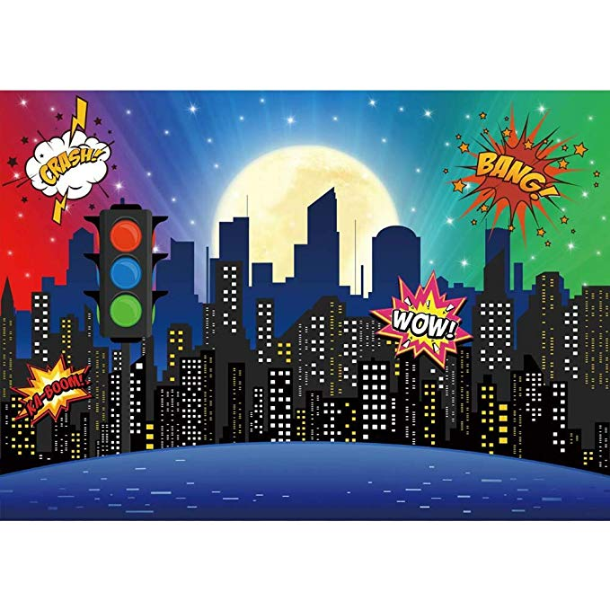 Amazon Com Allenjoy Superhero Super City Skyline Buildings Backdrop Baby Shower In 2020 1st Birthday Girls 1st Birthday Party Decorations Avengers Party Decorations