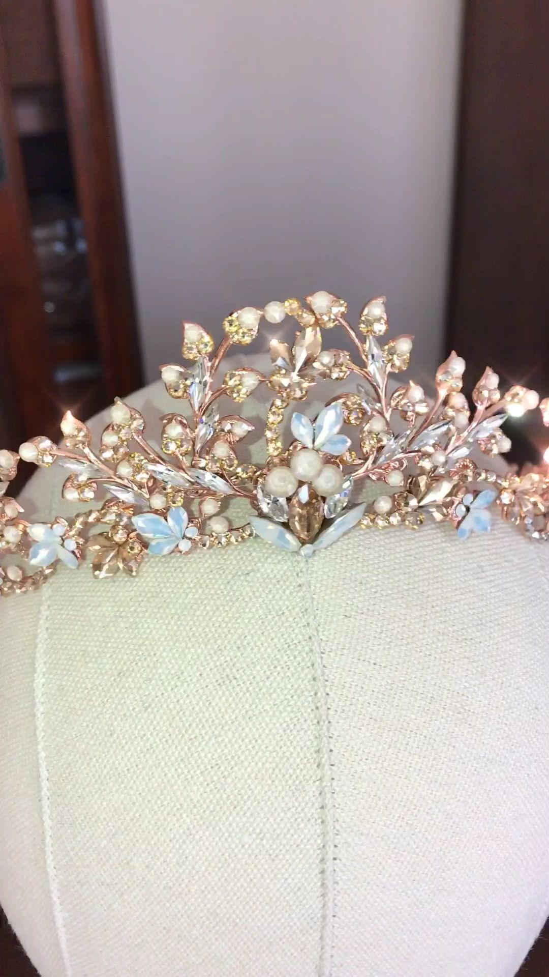 Rose gold bridal tiara with Swarovski Crystals  #crowntiara