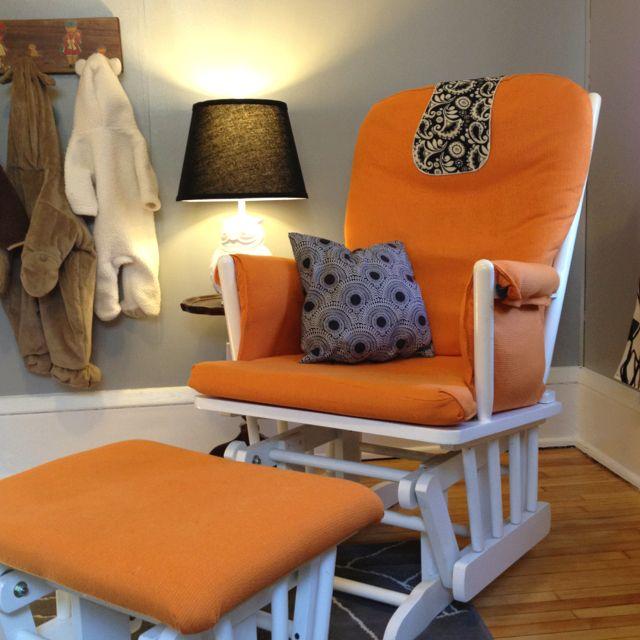 Reupholstered glider. $50 chair on Craigslist + orange ...