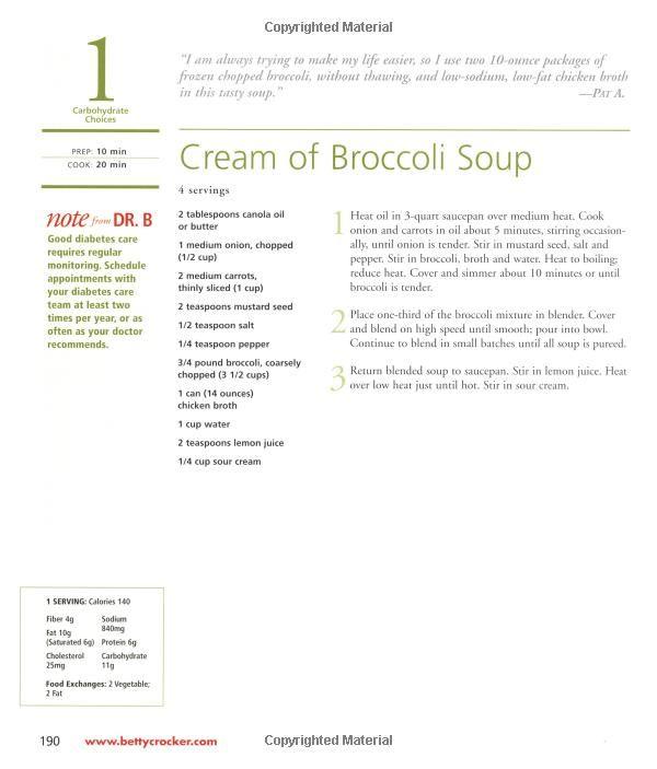 Cream Of Broccoli Soup Diabetes Cook Book Recipe Healthy