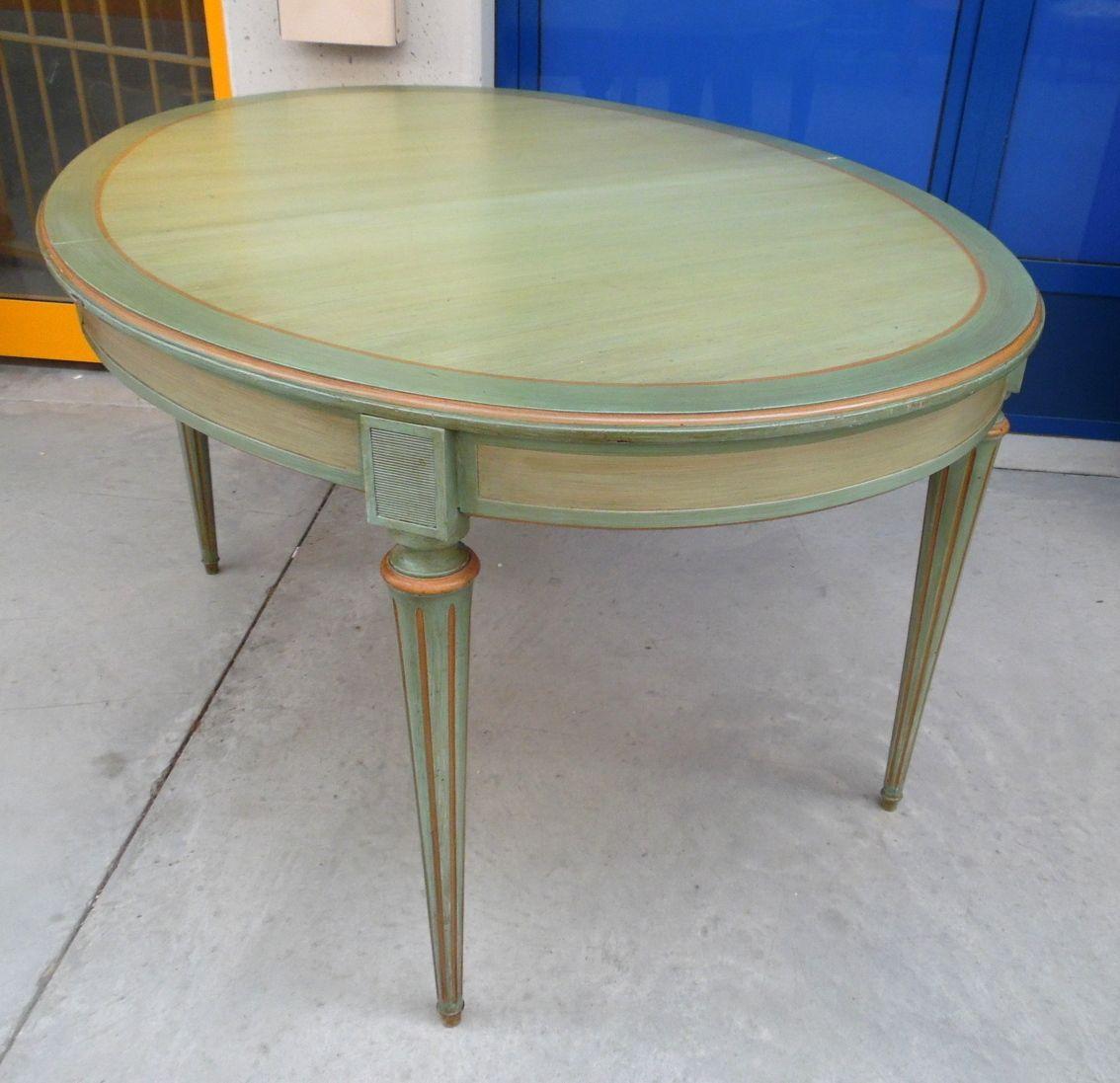 Tavolo ovale allungabile stile Luigi XVI fine \'800 laccato a metà ...
