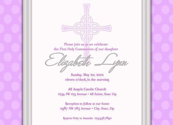 Girlu0027s First Communion Invitation, Communion Invitation, Purple - invitation templates holy communion