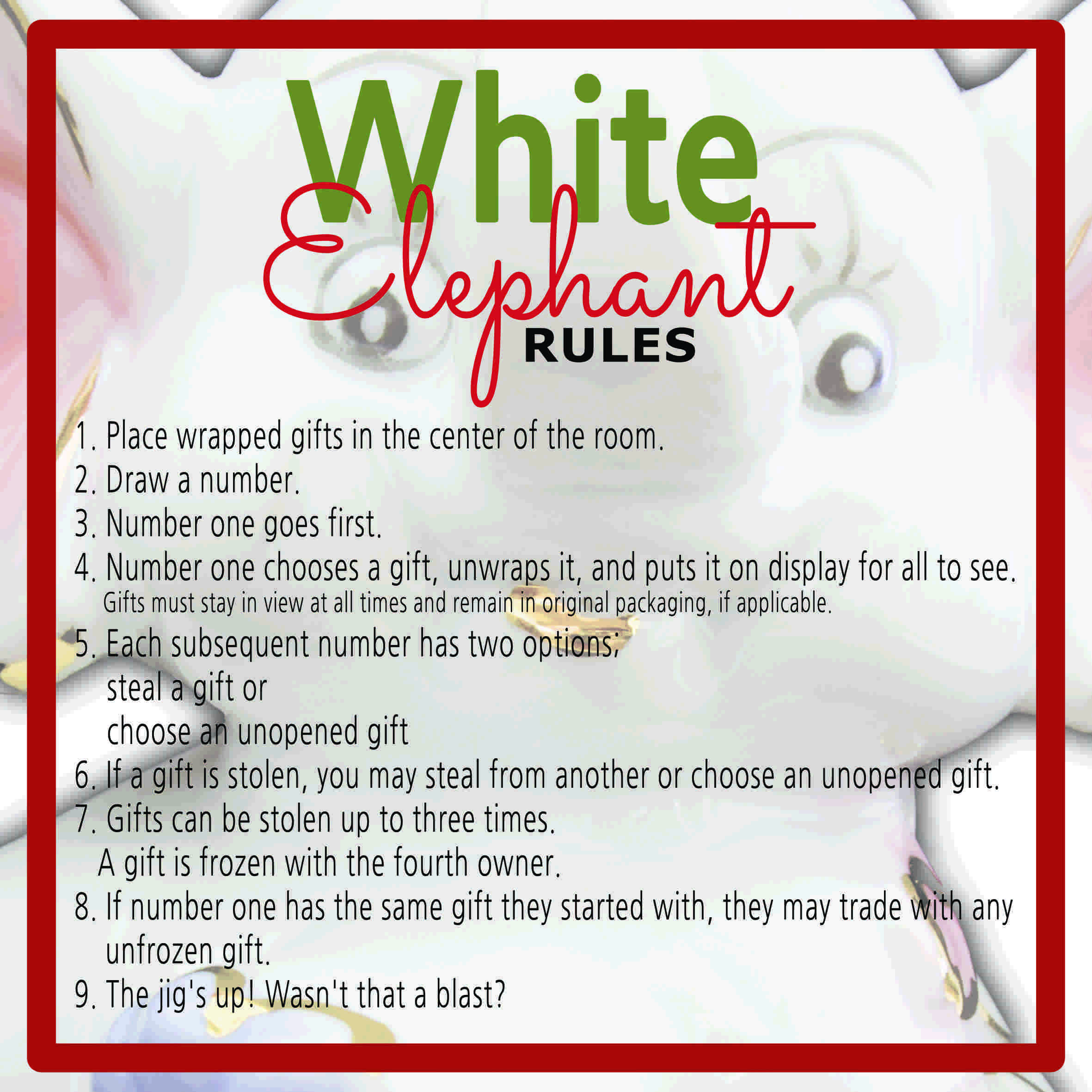 White Elephant Gift Exchange Rules and Printables